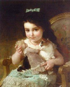 Cuadro de niña jugando con muñecas
