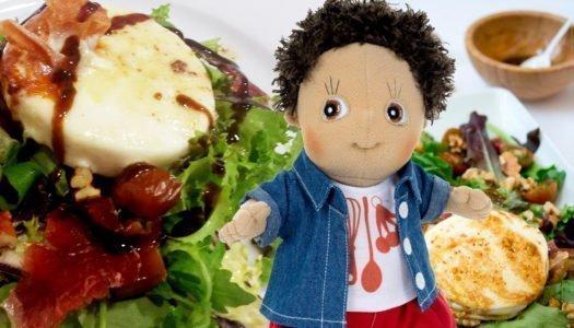 Ensalada de queso de cabra, jamón y nueces con Charlie Chef