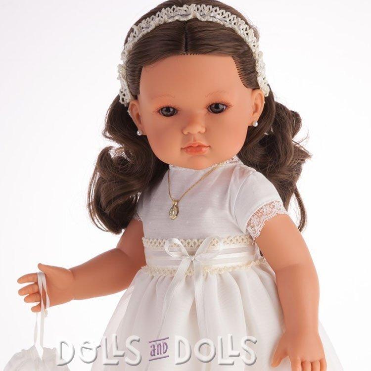 Muñeca Antonio Juan 45 cm - Bella comunión morena vestido beige y ojos marrones