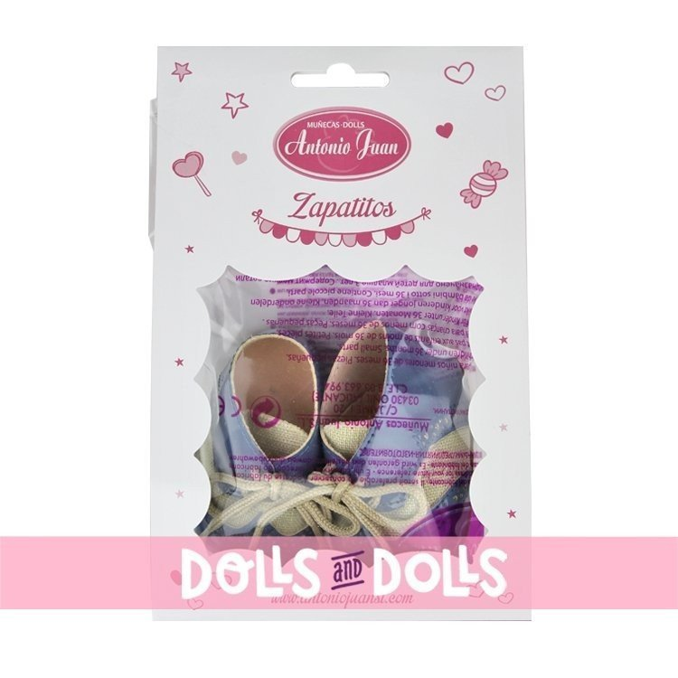 Complementos para muñecas Antonio Juan 40-42 cm - Botitas con cordones azules