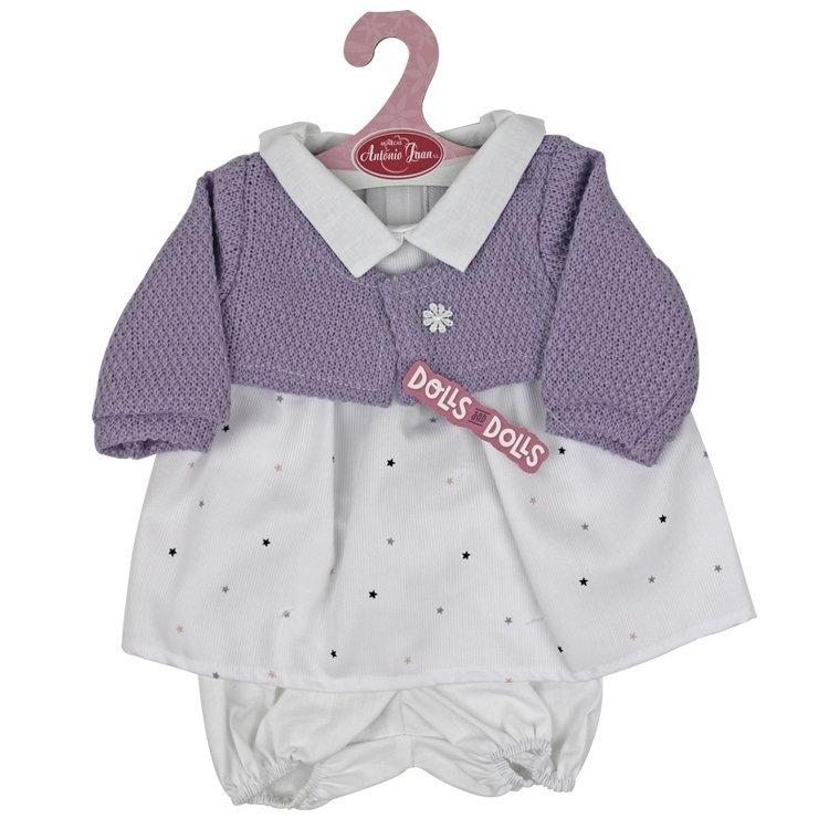 Ropa para muñecos Antonio Juan 40-42 cm - Conjunto blanco de estrellas con chaqueta morada