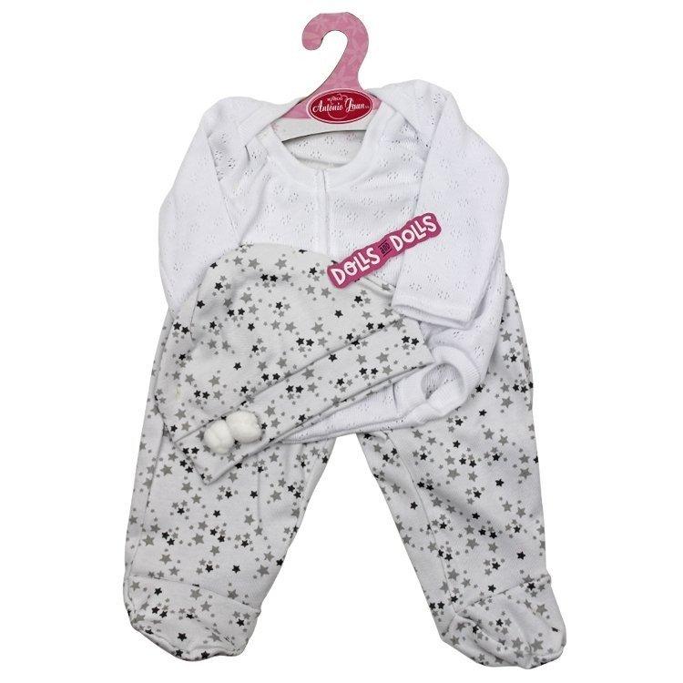 Ropa para muñecos Antonio Juan 40-42 cm - Pijama blanco de estrellas con gorro