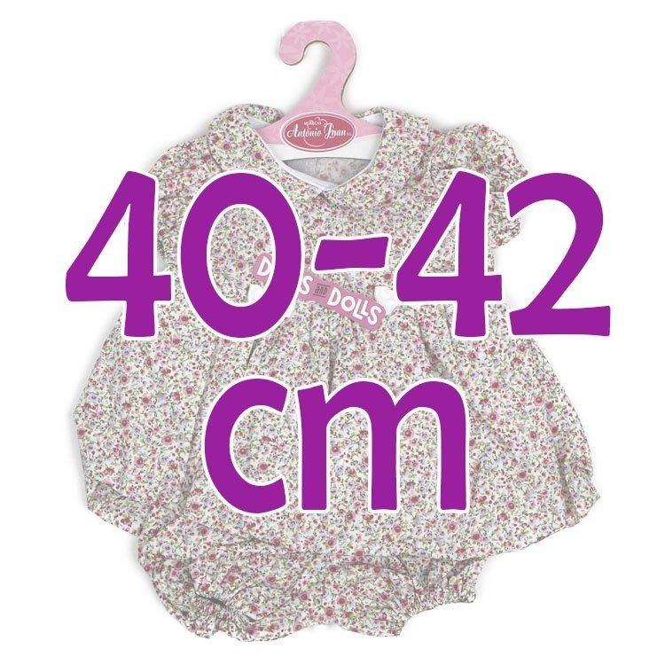 Ropa para muñecos Antonio Juan 40-42 cm - Vestido florecitas fucsia con braguita a juego