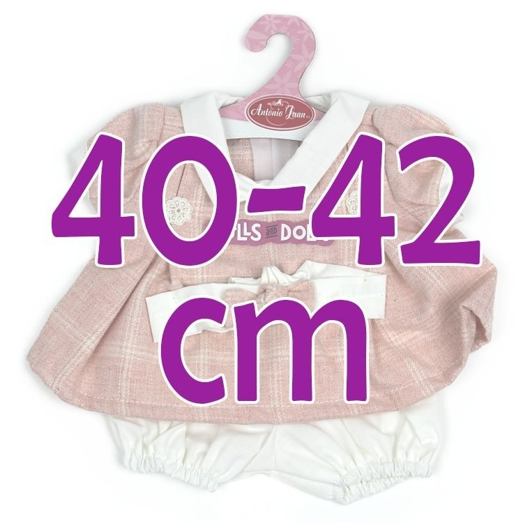 Ropa para muñecos Antonio Juan 40-42 cm - Vestido rosa cuadros con diadema