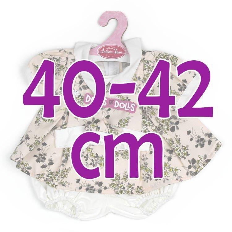 Ropa para muñecos Antonio Juan 40-42 cm - Vestido rosa palo estampado con diadema