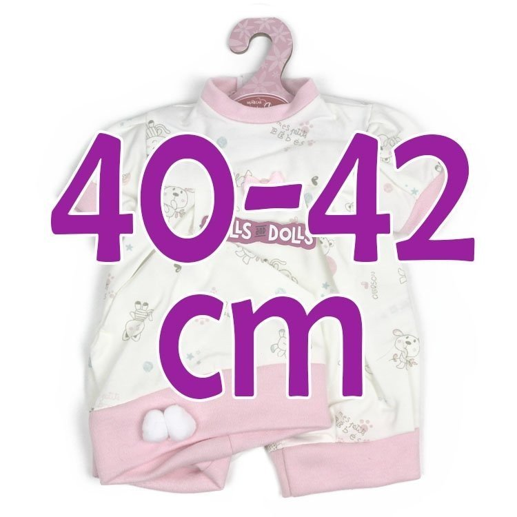 Ropa para muñecos Antonio Juan 40-42 cm - Pelele animalitos rosa con gorro