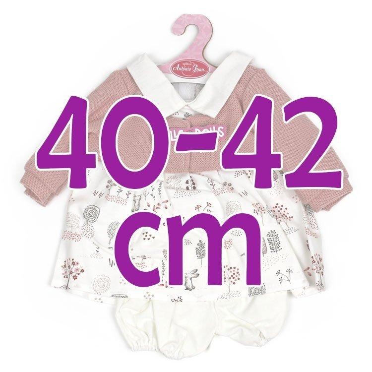 Ropa para muñecos Antonio Juan 40-42 cm - Vestido estampado conejitos con chaqueta