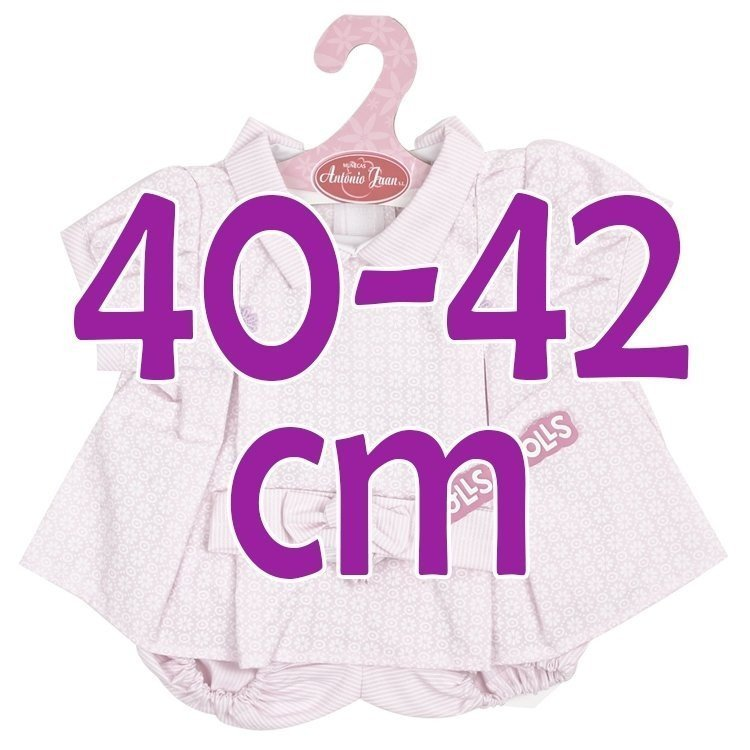 Ropa para muñecos Antonio Juan 40-42 cm - Vestido lila estampado con diadema