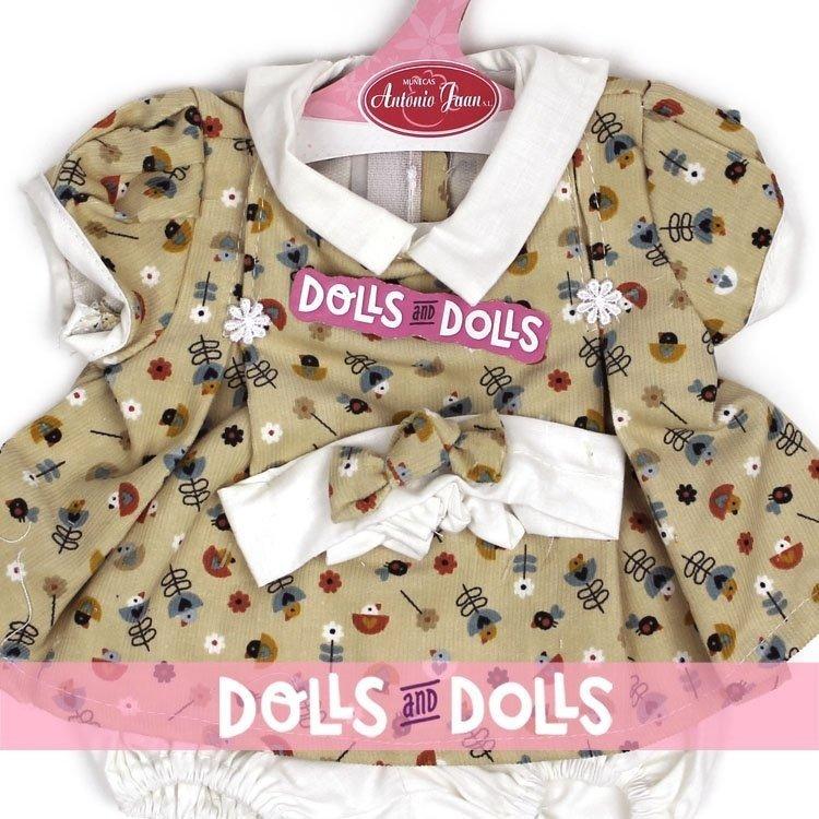 Ropa para muñecos Antonio Juan 40-42 cm - Vestido estampado pajaritos con diadema