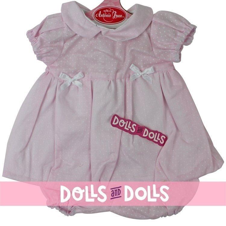 Ropa para muñecos Antonio Juan 40-42 cm - Vestido rosa con topos pequeños y braguita a juego