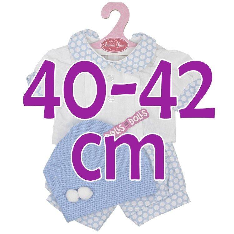 Ropa para muñecos Antonio Juan 40-42 cm - Conjunto azul de lunares blancos con gorro