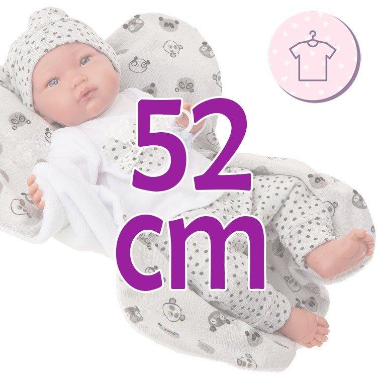 Ropa para muñecos Antonio Juan 52 cm - Colección Mi Primer Reborn - Pijama de panda gris con gorro