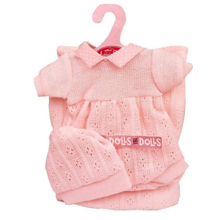 Ropa para muñecos Antonio Juan 33-34 cm - Conjunto rosa de punto con gorro y arrullo