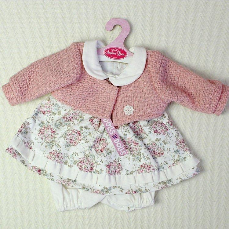 Ropa para muñecos Antonio Juan 40-42 cm - Vestido estampado de flores con chaqueta color rosa