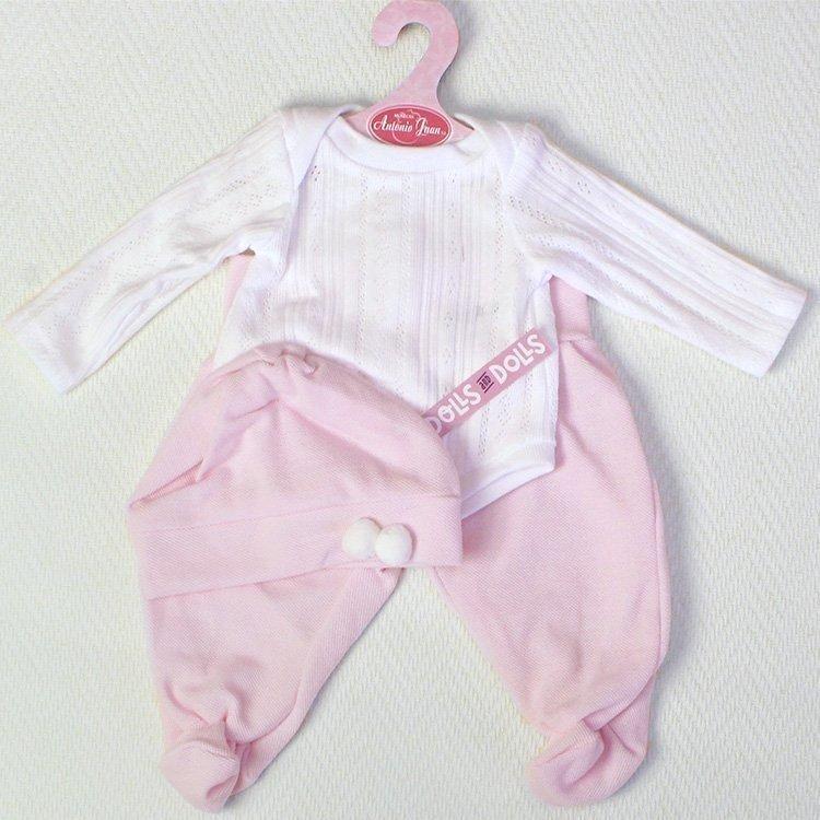 Ropa para muñecas Antonio Juan 40-42 cm - Body manga larga con polainas blanco-rosa con gorro