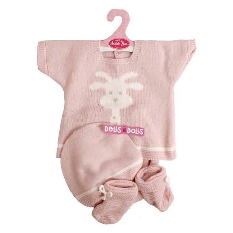 Ropa para muñecos Antonio Juan 40 - 42 cm - Colección Sweet Reborn - Conjunto jirafa de punto rosa con peúcos y gorro