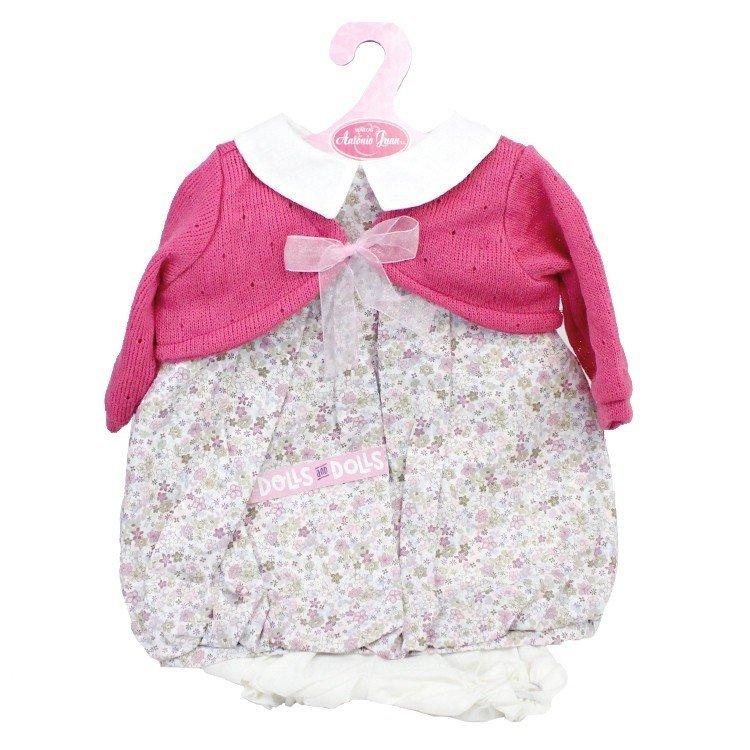 Ropa para muñecos Antonio Juan 55 cm - Conjunto estampado de flores con chaqueta frambuesa