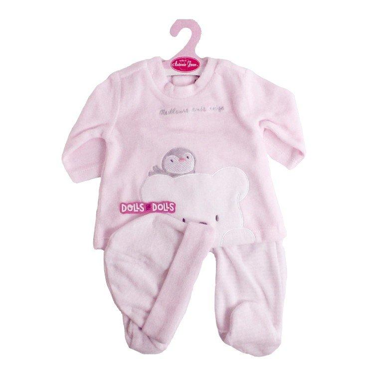 Ropa para muñecos Antonio Juan 52 cm - Colección Mi Primer Reborn - Pijama pingüino rosa con gorro