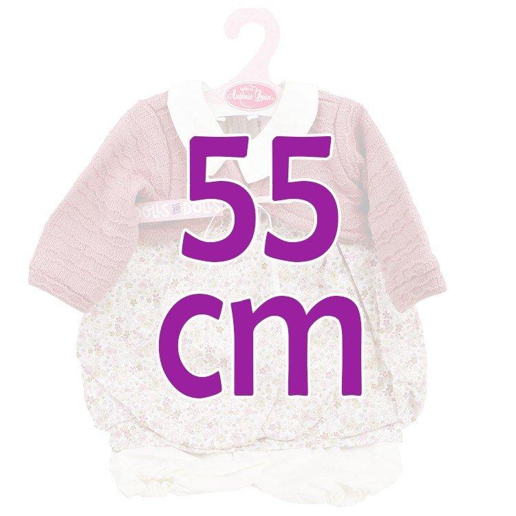 Ropa para muñecos Antonio Juan 55 cm - Conjunto estampado de flores con chaqueta malva