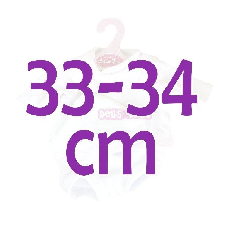 Ropa para muñecos Antonio Juan 33-34 cm - Conjunto estampado rosa con gorro