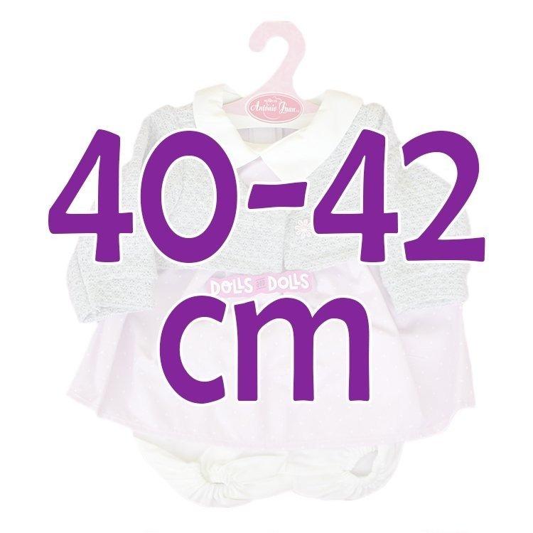 Ropa para muñecos Antonio Juan 40-42 cm - Conjunto estampado de puntos con chaqueta de punto gris