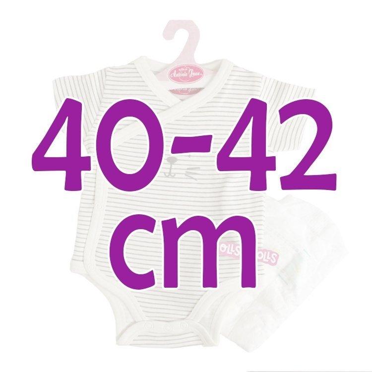 Ropa para muñecos Antonio Juan 40 - 42 cm - Colección Sweet Reborn - Body de rayas grises con pañal