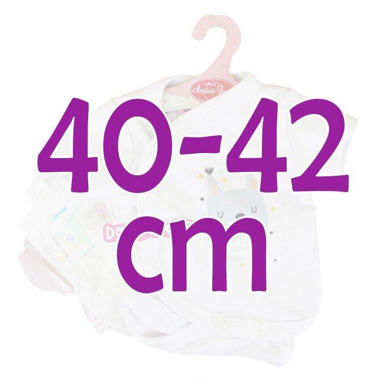 Ropa para muñecos Antonio Juan 40 - 42 cm - Colección Sweet Reborn - Body blanco con perrito con pañal