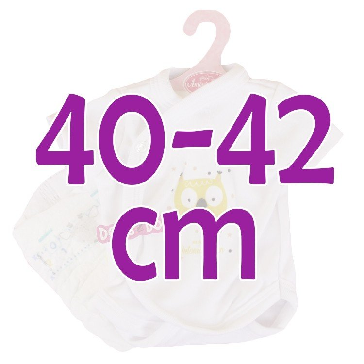 Ropa para muñecos Antonio Juan 40 - 42 cm - Colección Sweet Reborn - Body blanco con búho con pañal