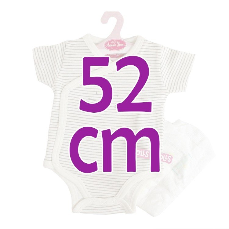 Ropa para muñecos Antonio Juan 52 cm - Colección Mi Primer Reborn - Body de rayas grises con pañal