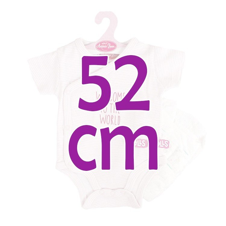 Ropa para muñecos Antonio Juan 52 cm - Colección Mi Primer Reborn - Body de rayas rosas con pañal