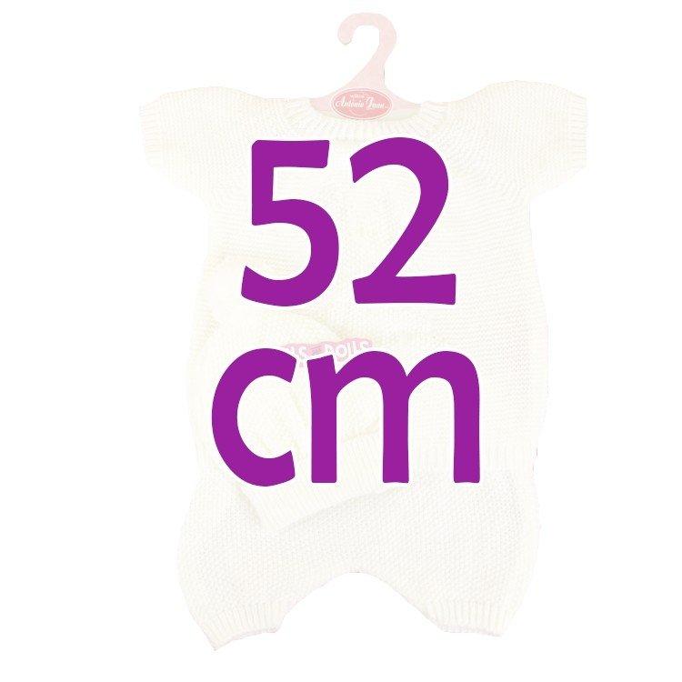 Ropa para muñecos Antonio Juan 52 cm - Colección Mi Primer Reborn - Pijama de punto crema con gorro