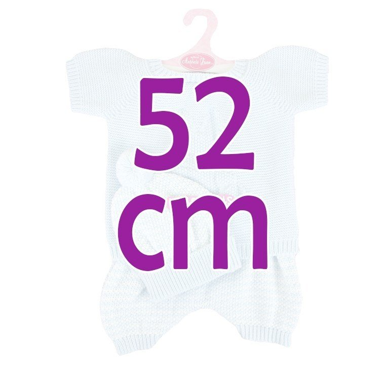 Ropa para muñecos Antonio Juan 52 cm - Colección Mi Primer Reborn - Pijama de punto azul con gorro