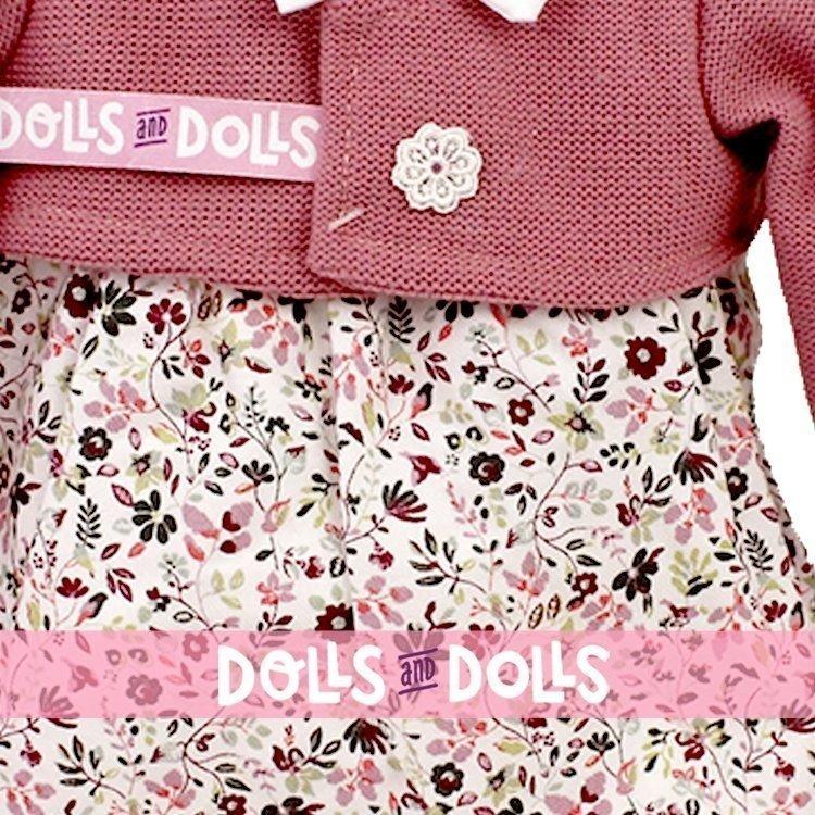 Ropa para muñecos Antonio Juan 40-42 cm - Conjunto con estampado de flores y chaqueta rosa oscuro