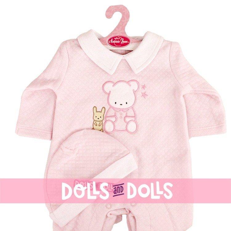Ropa para muñecos Antonio Juan 40 - 42 cm - Colección Sweet Reborn - Pijama rosa de osito con gorro