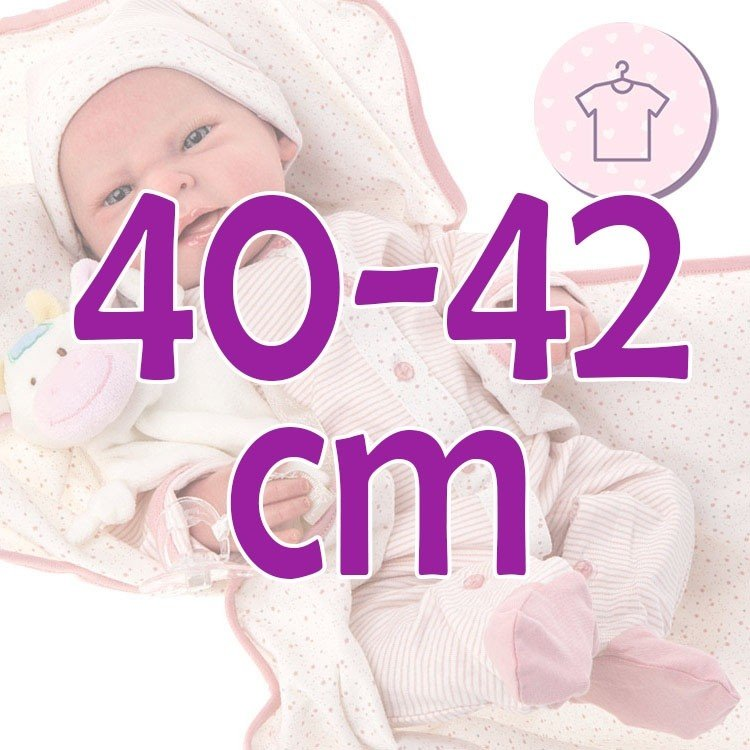 Ropa para muñecos Antonio Juan 40 - 42 cm - Colección Sweet Reborn - Conjunto pelele de rayas y estrellas con manta y gorro