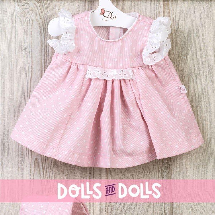 Ropa para Muñecas Así 43 cm - Vestido rosa con puntitos blancos para muñeca María