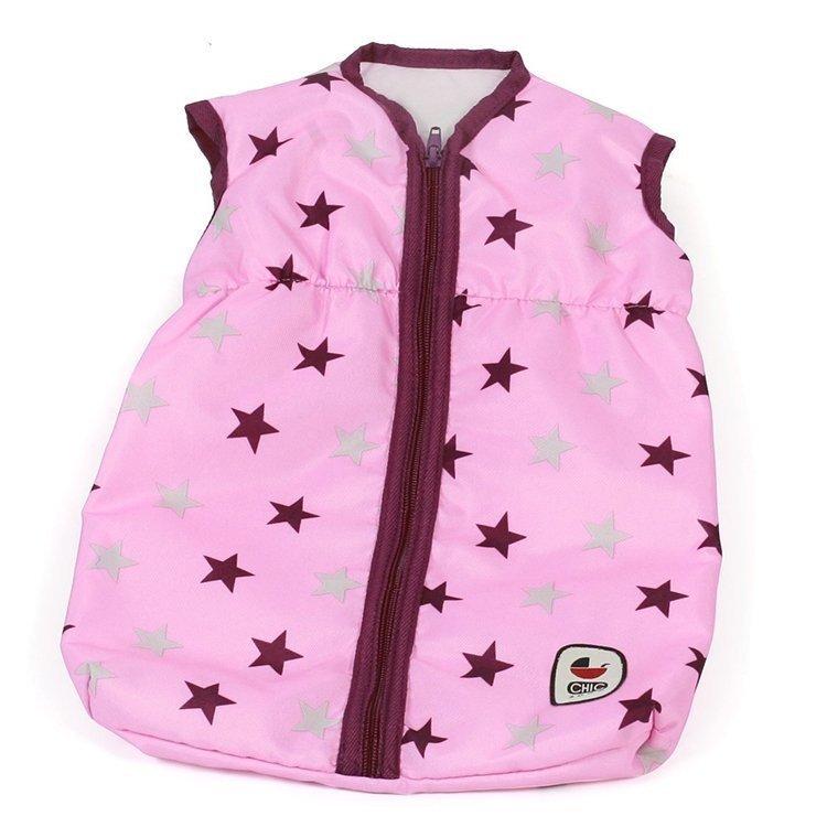 Saco de dormir para muñecas de hasta 55 cm - Bayer Chic 2000 - Estrellas frambuesa-rosa