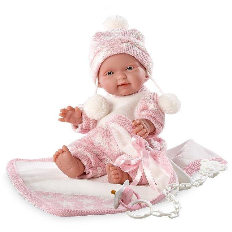 Muñeca Llorens 26 cm - Bebita manta rosa