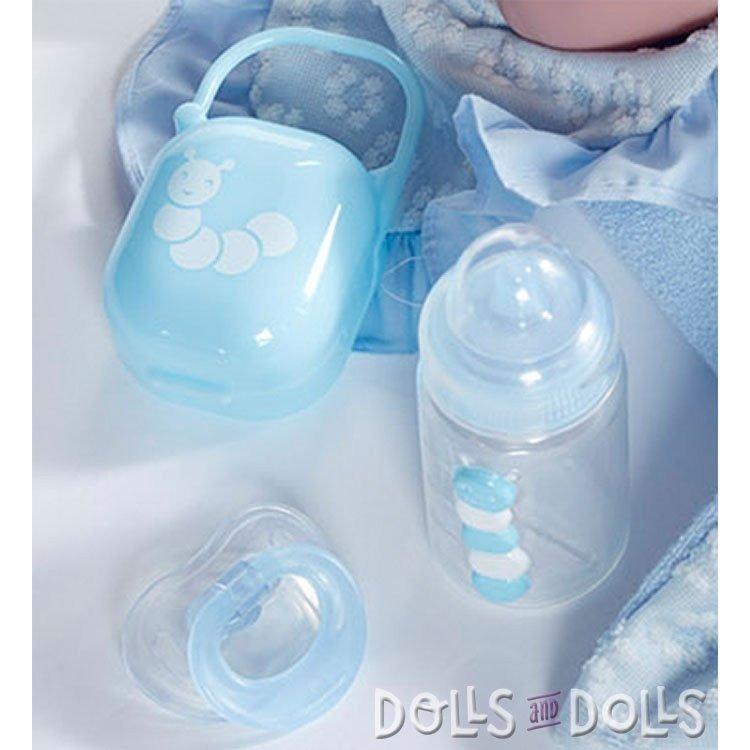 Muñeco Berenguer Boutique 39 cm - La newborn 18787 con vestido de azul con arrullo y accesorios