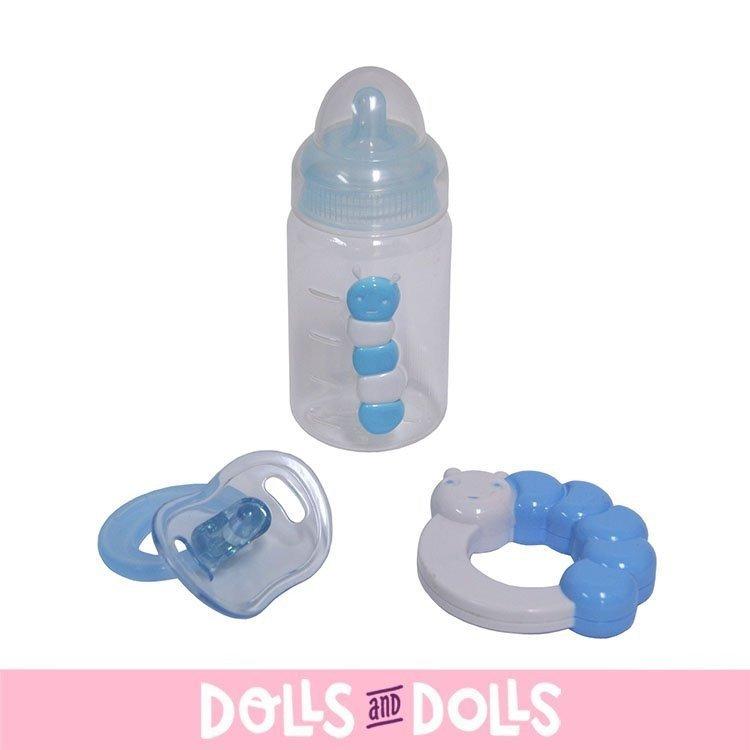 Accesorios para muñecos Berenguer - Set de biberón, sonajero y chupete AZUL