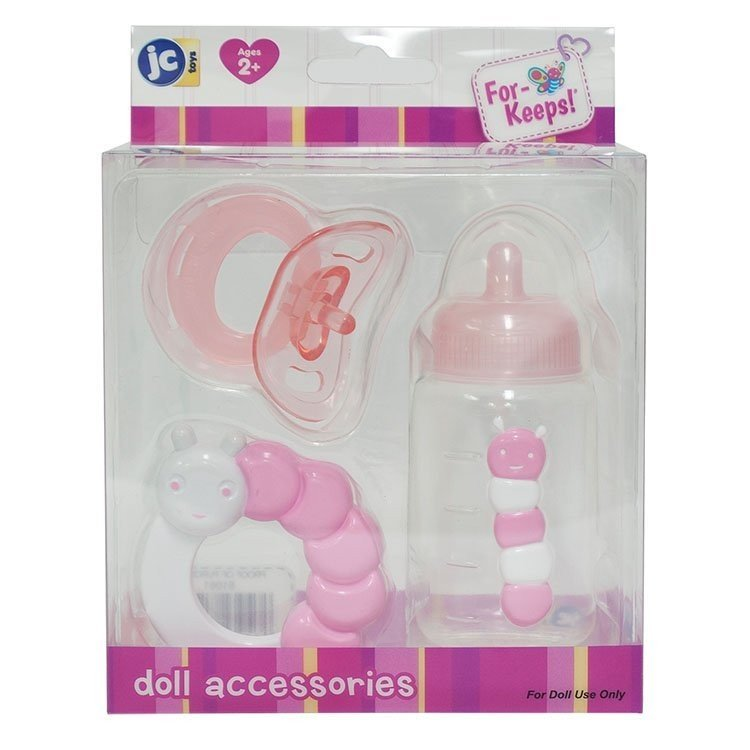 Accesorios para muñecas Berenguer - Set de biberón, sonajero y chupete ROSA