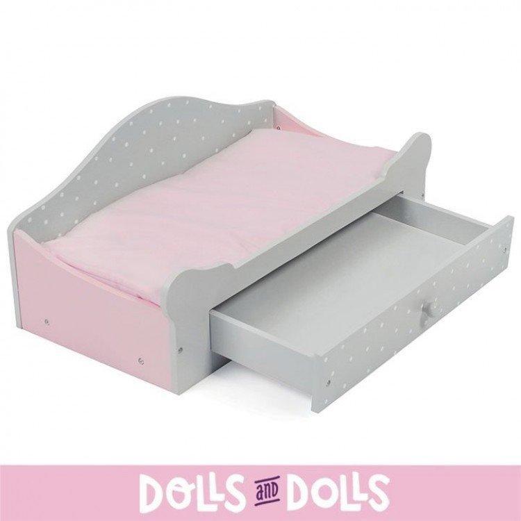 Cambiador de madera de muñecas - Bayer Chic 2000 - Rosa y gris
