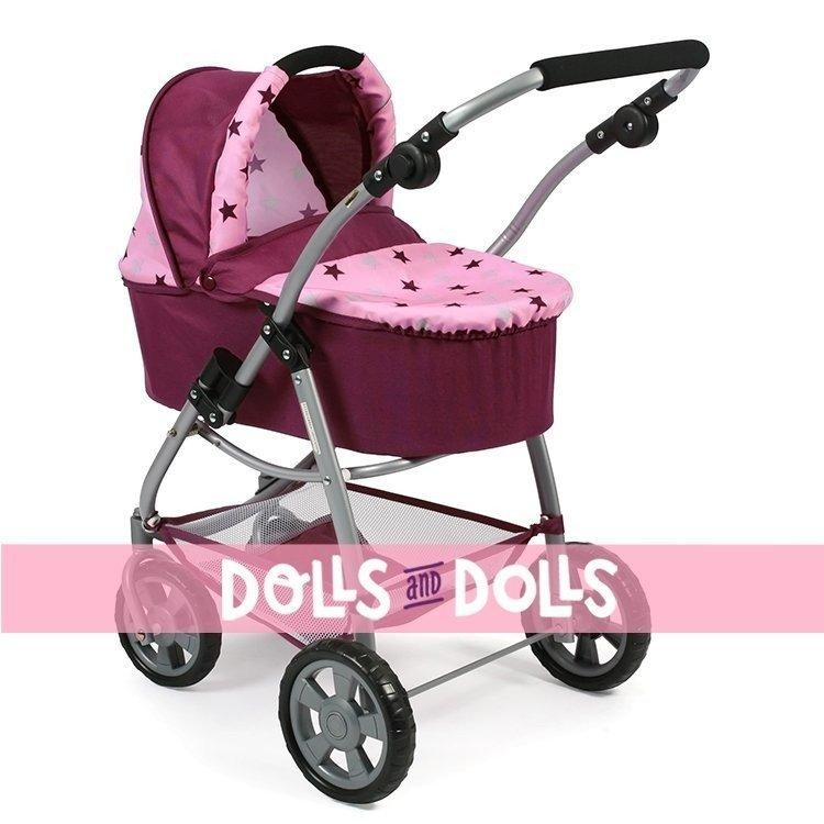Cochecito 77 cm Emotion 2 en 1 para muñecas - Combi silla y capazo Bayer Chic 2000 - Estrellas frambuesa-rosa