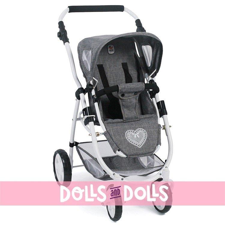 Cochecito 77 cm Emotion 3 en 1 para muñecas - Combi silla, capazo y silla de auto Bayer Chic 2000 - Gris vaquero