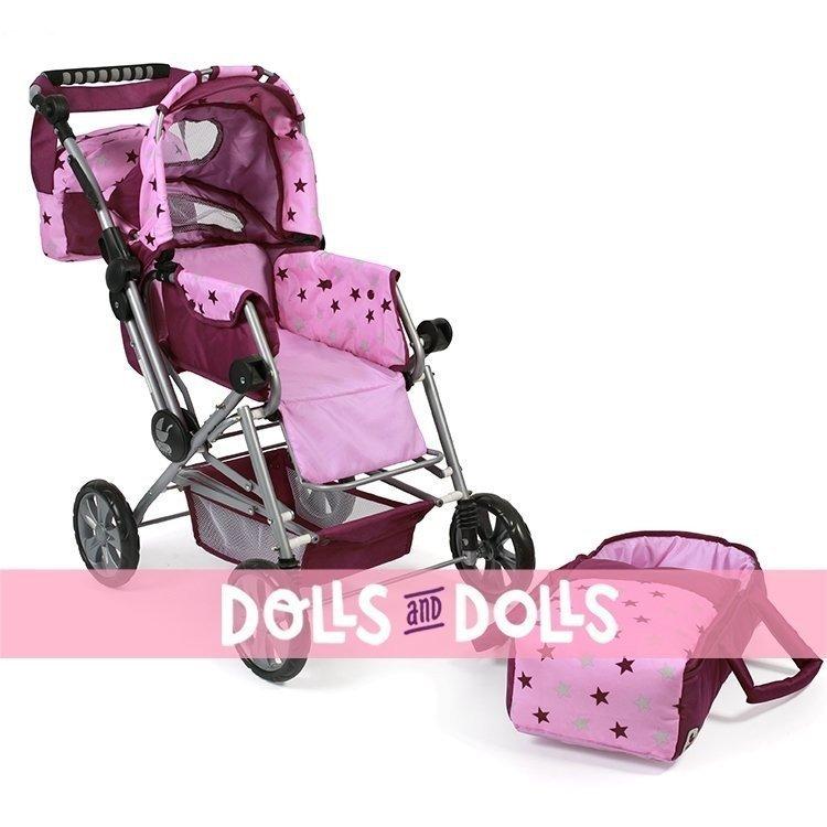 Cochecito Road Star 82 cm para muñecas - Bayer Chic 2000 - Estrellas frambuesa-rosa