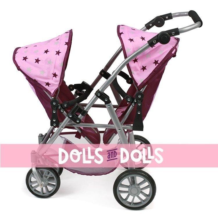 Sillita doble Vario 79 cm para muñecas - Bayer Chic 2000 - Estrellas frambuesa-rosa