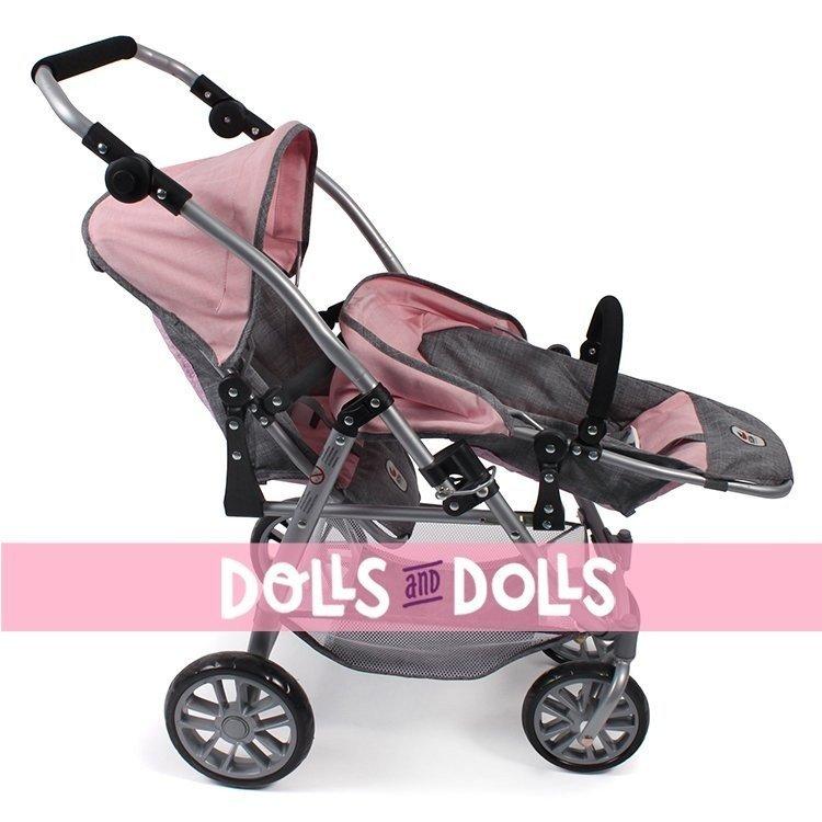 Sillita doble Vario 79 cm para muñecas - Bayer Chic 2000 - Rosa-Gris