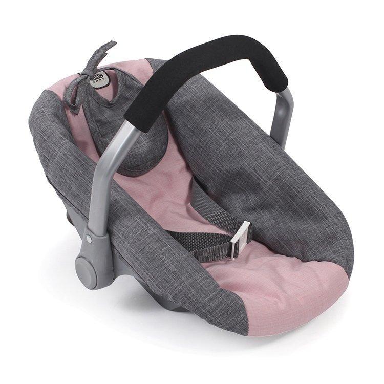 Silla de Auto para muñecas de 46 cm - Bayer Chic 2000 - Rosa-Gris