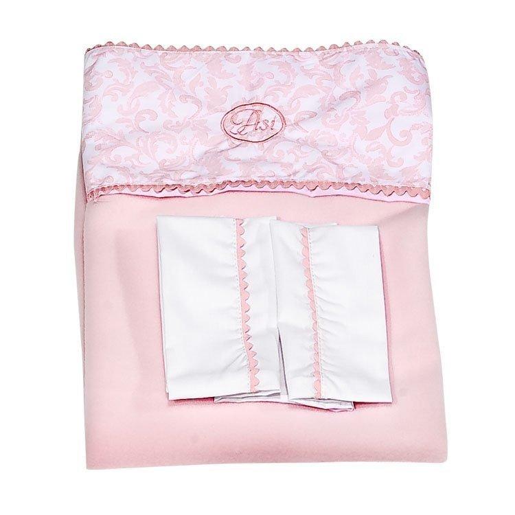 Complementos muñecas Así - Juego de sábanas cachemir y manta rosa