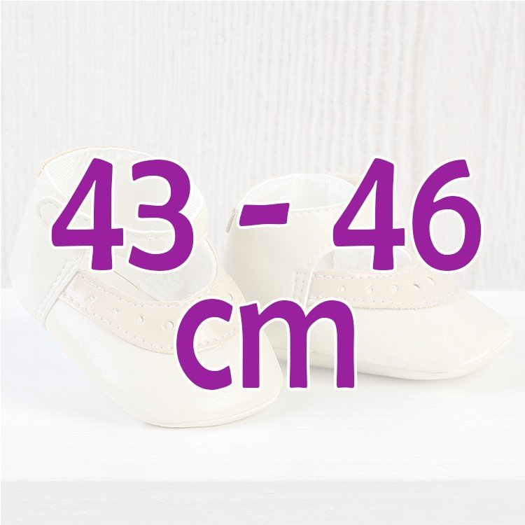 Complementos muñecas Así 43 a 46 cm - Zapatos merceditas mixta beige para muñecos María, Pablo, Leo y Serie Limitada